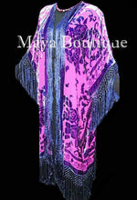 Kimono Fringe Jacket Duster Burnout Velvet Fucshia Purple Maya Matazaro Plus