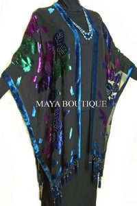 Caftan Kimono Duster Beaded Silk Burnout Velvet Tye Dye Blue Multi Maya Matazaro