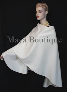 Cashmere Cape Ruana Wrap Coat Ivory by Maya Matazaro Made in USA