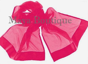 Hot Pink Scarf Wrap Shawl Silk Chiffon Satin Border Maya Boutique