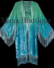 Jade Turquoise Burnout Velvet Kimono Jacket Hand Dyed Maya Matazaro Made in USA