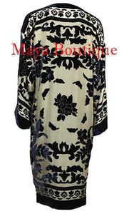 Kimono Jacket Silk Burnout Velvet Long Beige & Black No Fringe Maya Matazaro