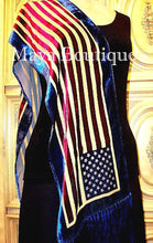 American USA Flag Silk Burnout Velvet Scarf Wrap With Fringes Maya Matazaro