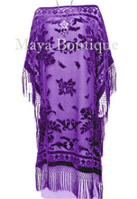 Purple Silk Burnout Velvet Caftan Dress Duster Fringe Kimono Maya Matazaro USA