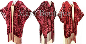 Burnout Velvet Dark Red Caftan Kimono Art Nouveau Made in USA By Maya Matazaro