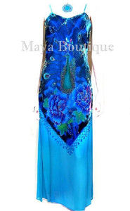 Turquoise Dress Gown Silk Burnout Velvet Beaded Peacock Maya Matazaro M
