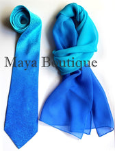 Matching Silk Neck Tie & Scarf Hand Dyed Blue Turquoise Ombre Maya Matazaro