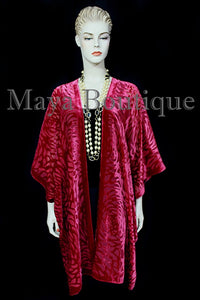 Maya Matazaro True Red Camellia Burnout Velvet Caftan Kimono Jacket USA Made