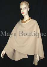 Taupe Cape Ruana Wrap Coat Cashmere Wool Blend by Maya Boutique Made in USA