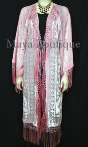 Rose Quartz Fringes Jacket Kimono Long Coat Silk Burnout Velvet Maya Matazaro