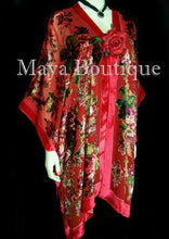 Silk Caftan Kimono Jacket Velvet Red Multi Gypsy Rose Maya Matazaro USA Made
