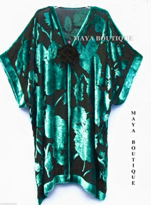 Maya Matazaro Silk Burnout Velvet Jacket Kimono Duster Teal Black No Fringe Plus