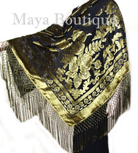 Antique Gold & Black Burnout Velvet Piano Shawl Square Fringed Maya Matazaro