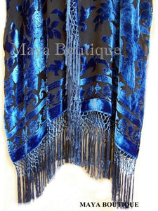Wearable Art Kimono Caftan Fringe Jacket Silk Burnout Velvet Hand Dyed Teal Blue
