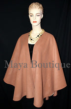 Salmon Cape Ruana Wrap Coat Cashmere Wool Blend by Maya Matazaro USA Made