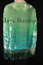 Wearable Art Velvet Kimono Jacket Hand Dyed Jade Turquoise Short Maya Matazaro