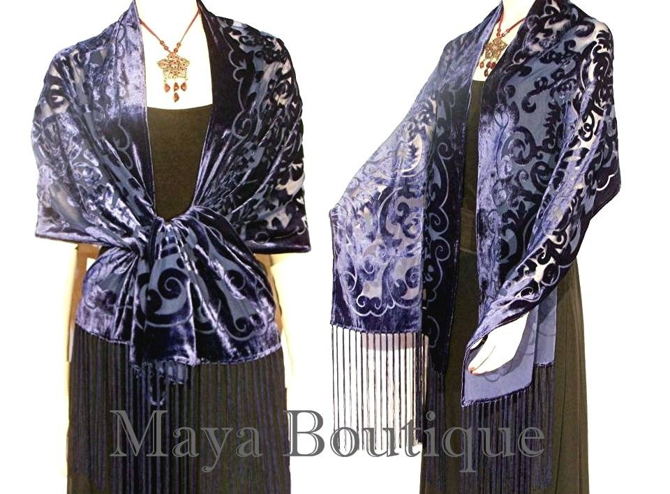 Shawl Wrap Scarf Burnout Velvet Art Nouveau Oblong Navy Blue Maya Matazaro