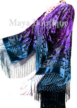 Maya Matazaro Art to Wear Burnout Velvet Kimono Jacket Hand Dyed Teal Purple