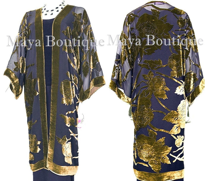 Antique Gold Long Kimono Jacket Silk Burnout Velvet No Fringe Maya Matazaro