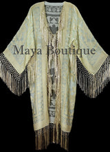Vanilla Silk Burnout Velvet Fringes Jacket Kimono Long Coat Maya Matazaro
