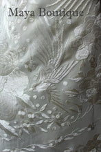 "Ivory Flamenco Embroidered Silk Piano Shawl Wrap Flowers & Birds 88"" Maya"
