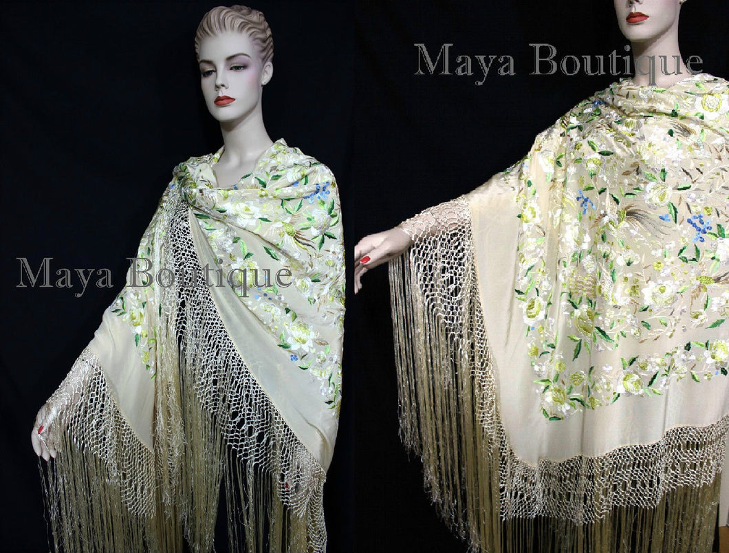 Flamenco Embroidered Silk Piano Shawl Wrap Pastels Flower Birds Greens 90