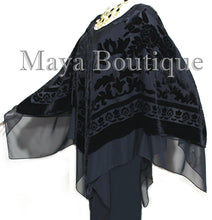 Black Maya Matazaro Layered Poncho Top Burnout Velvet & Chiffon Made In USA