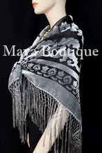 Piano Shawl Scarf Silver Gray Burnout Velvet Square With Fringes Maya Matazaro