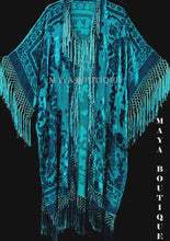 Turquoise Silk Burnout Velvet Fringe Jacket Kimono Duster Maya Wearable Art Plus