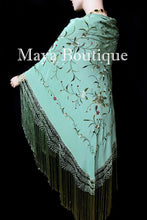Flamenco Embroidered Silk Piano Shawl Wrap Tiffany Green Hand Dyed Maya Matazaro