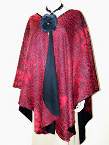 Reversible Wool Cashmere & Angora Leopard Ruana Cape Wrap Red & Black USA Made