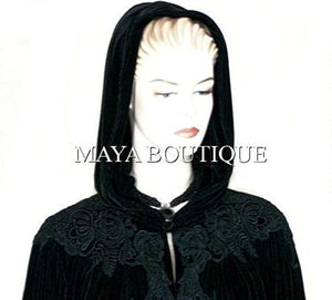 Cloak Opera Cape BLACK Victorian Rep Long Velvet & Lace Lined Maya Boutique