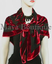 Piano Shawl Wrap Scarf Silk Burnout Velvet Red & Black No Fringe Maya Matazaro