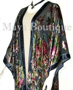 Silk Caftan Kimono Jacket Velvet Black Multi Gypsy Rose Maya Matazaro USA Made