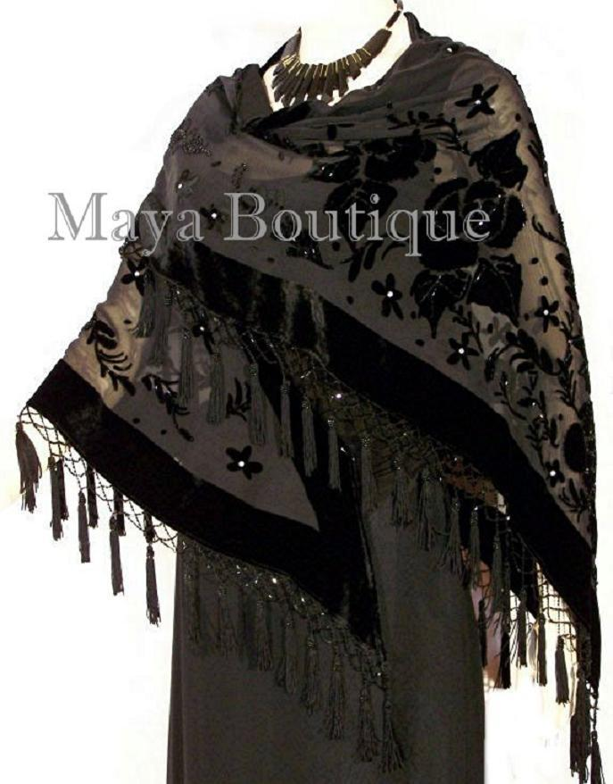 Beaded Black Triangle Shawl Wrap Opera Scarf Silk Burnout Velvet Maya Boutique