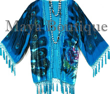 Silk Velvet Jacket Kimono Short Beaded Peacock Turquoise Maya Jacket