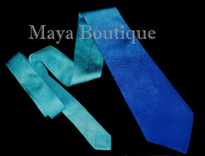 Silk Neck Tie Hand Dyed Blue Turquoise Ombre Maya Matazaro - Art to wear