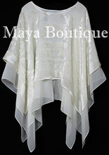 Maya Matazaro Layered Poncho Top Burnout Velvet & Chiffon Ivory Made In USA