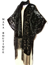 Maya Matazaro Caftan Kimono Duster Burnout Velvet Art Nouveau Black Made in USA