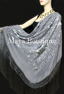 "Flamenco Embroidered Silk Piano Shawl Wrap Dusk Gray Floral 84"" Maya Matazaro"
