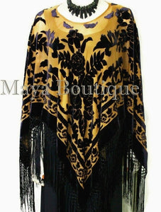 Maya Matazaro Black & Antique Gold Silk Burnout Velvet Poncho Fringed Shawl Top