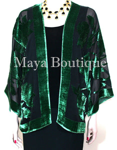 Emerald & Black Silk Burnout Velvet Jacket Short Kimono No Fringe Maya Matazaro