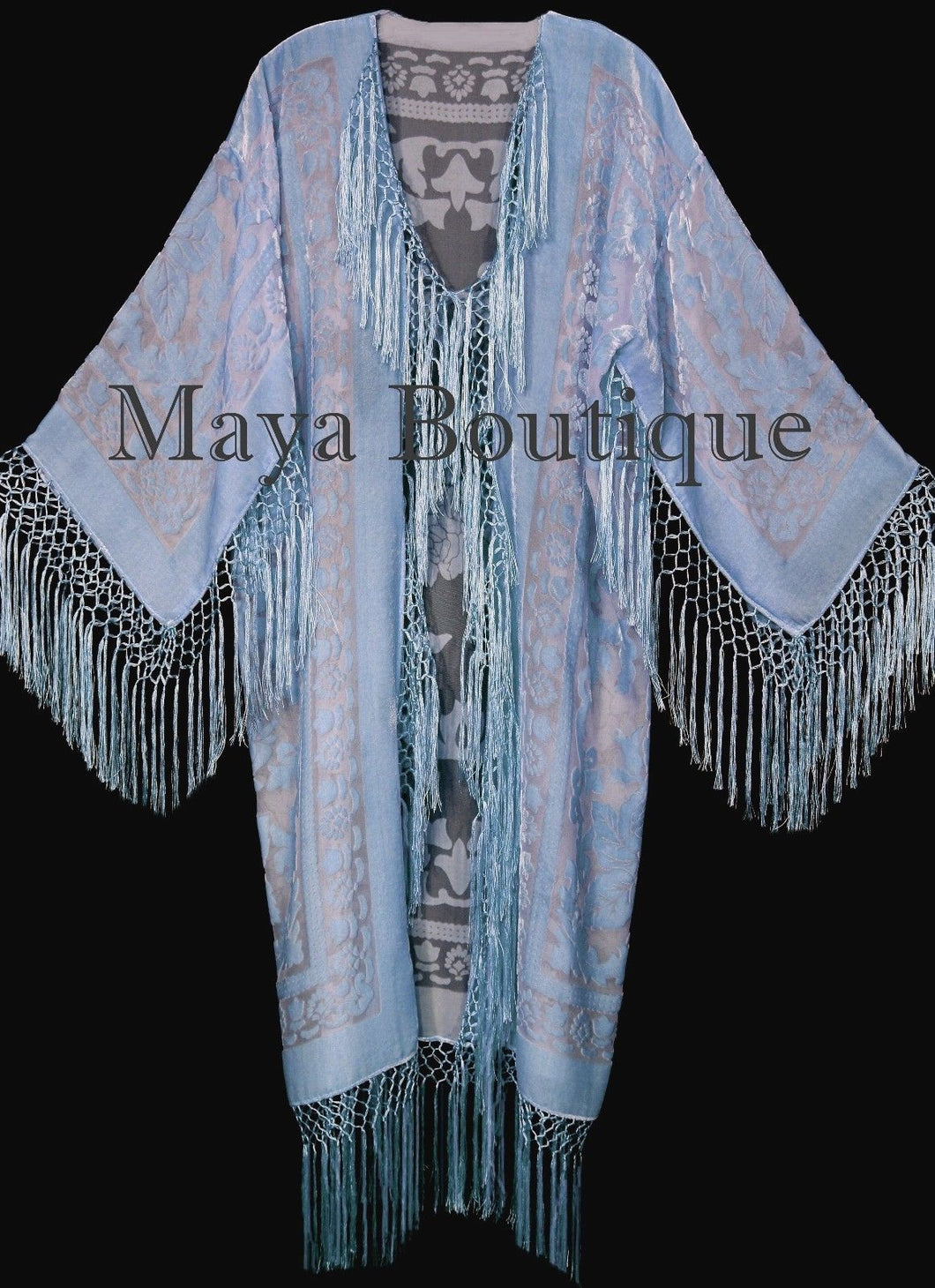 Serenity Blue Silk Burnout Velvet Fringes Jacket Kimono Long Coat Maya Matazaro
