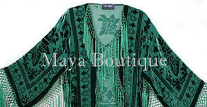 Emerald Green Kimono Long Fringe Jacket Burnout Velvet Maya Matazaro