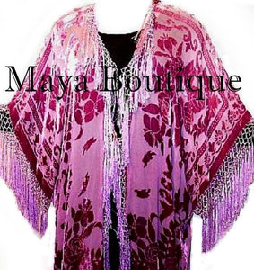 Hand Dyed Kimono Jacket Duster Silk Burnout Velvet Wine Rose Ombre Maya Matazaro