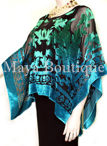 Art To Wear Poncho Top Burnout Velvet Hand Dyed Green Turquoise Maya Boutique