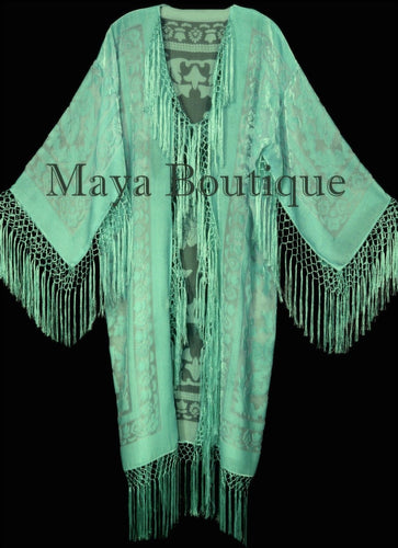 Mint Silk Burnout Velvet Fringes Jacket Kimono Long Coat Maya Matazaro