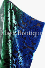 Hand Dyed Maya Matazaro Baroque Shawl Wrap Scarf Burnout Velvet Green Blue Ombre