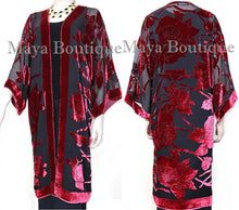Red Long Kimono Jacket Silk Burnout Velvet No Fringe Maya Matazaro
