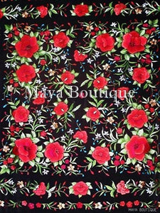 "Red Roses Hand Embroidered Flamenco Silk Piano Shawl Huge 90"" Maya Matazaro"